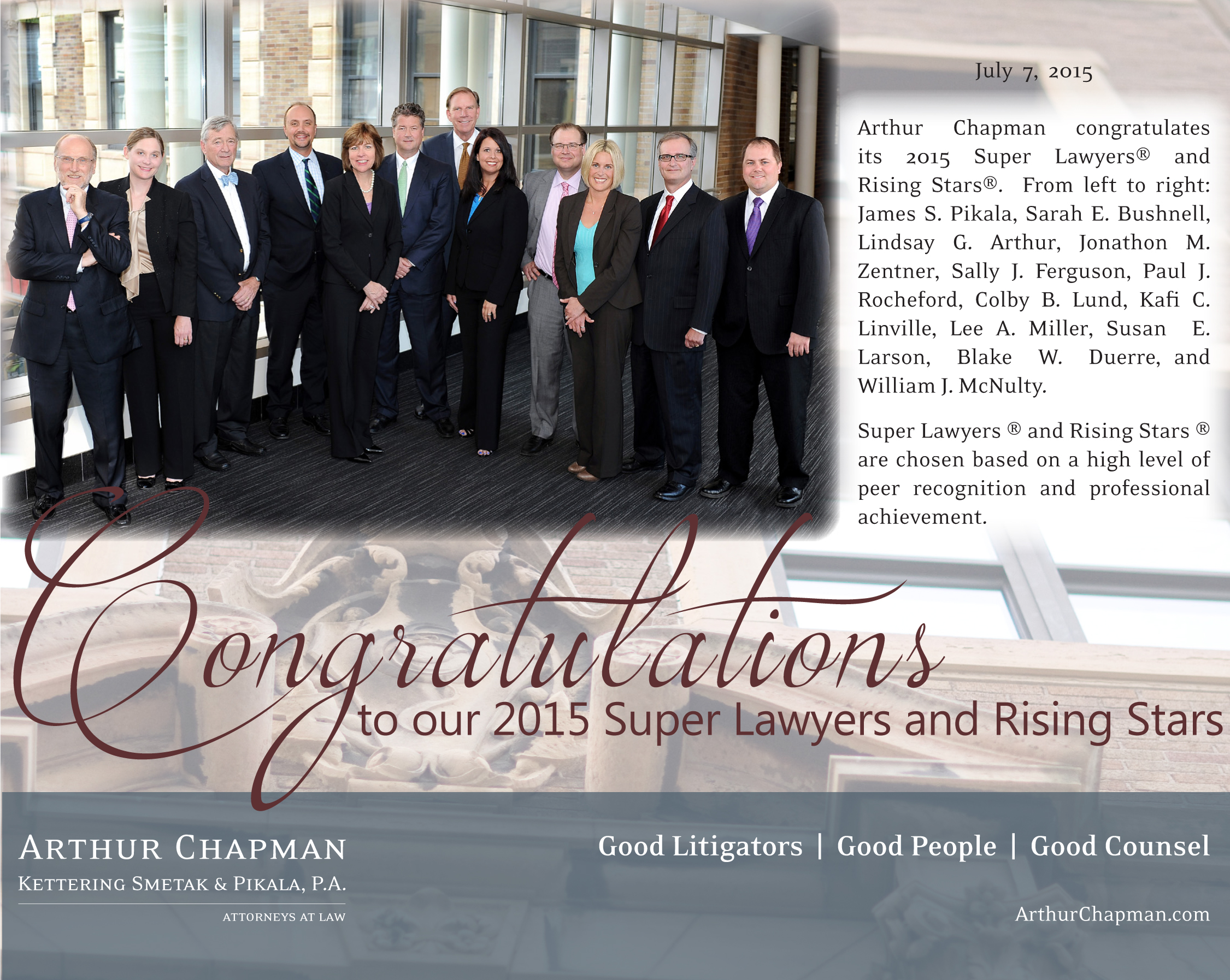 Super Lawyer and Rising Stars 2015